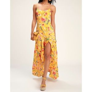 Lulu's Yellow Floral Asymmetrical Dress